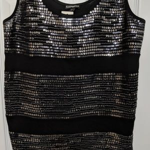 Express Silver and Black Sequin Tank Top NWT